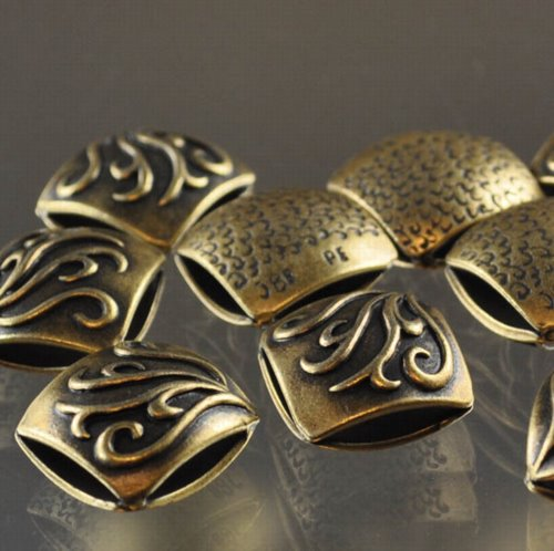 "s33323 Metal Beads - 13 mm Double Square - Vines - Antiqued Brass <font color=""#FF0000"">Managers LAST CALL </font> 80% off!"