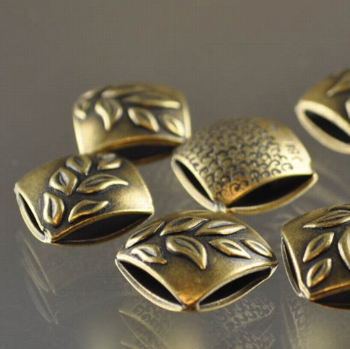 "s33328 Metal Beads - 13 mm Double Square - Leaves - Antiqued Brass <font color=""#FF0000"">Managers LAST CALL </font> 80% off!"
