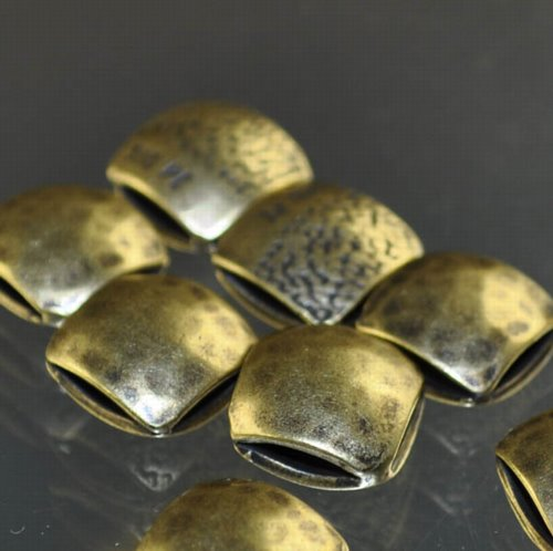 "s33353 Metal Beads - 9 mm Double Square - Hammertone - Antiqued Brass <font color=""#FF0000"">Managers LAST CALL </font> 80% off!"