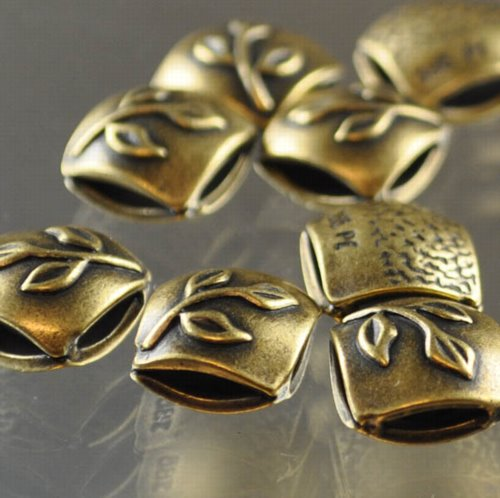 """s33358 Metal Beads - 9 mm Double Square - Twig - Antiqued Brass <font color=""""#FF0000"""">Managers LAST CALL </font> 80% off!"""