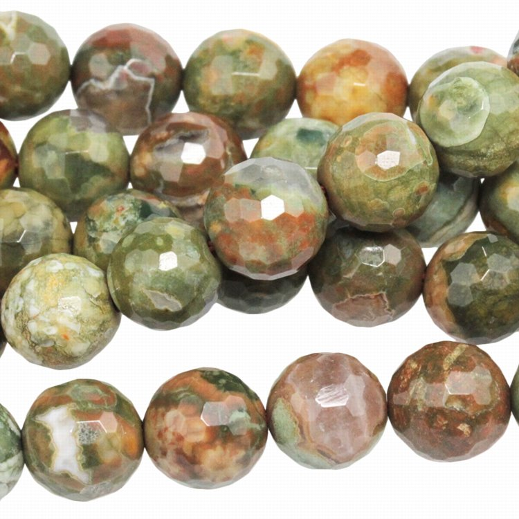 s33537 Stone Beads - 8 mm Faceted Rounds - Rhyolite (strand)