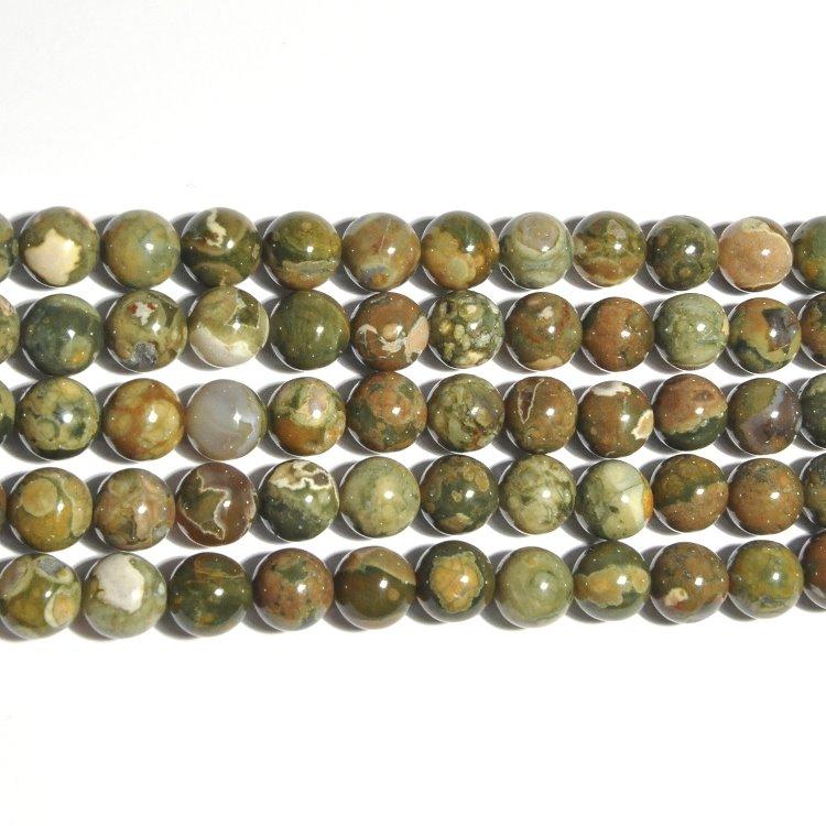 s33538 Stone Beads - 10 mm Round - Rhyolite (strand)