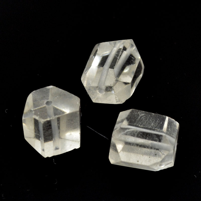 s33649 Stone Beads - Faceted Hexagon - Rock Crystal Quartz (5)