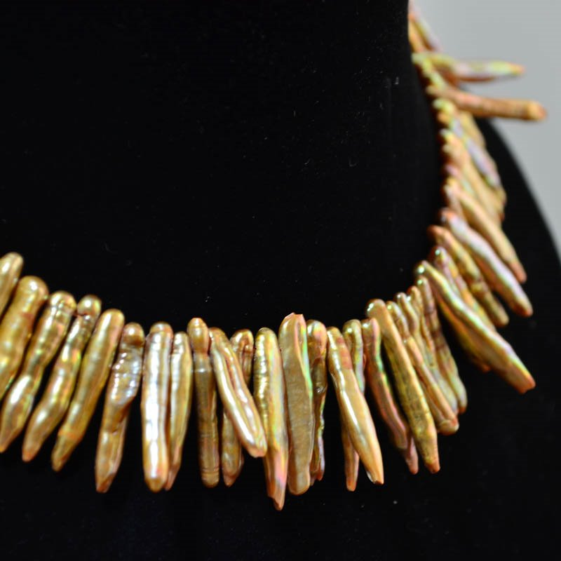s33791 Freshwater Pearls - 33-43 mm Very Slender Biwa Stick Pearl - Burgundy Copper (strand)
