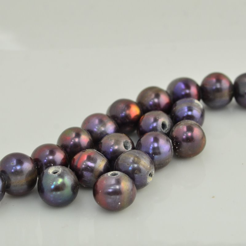 s33800 Freshwater Pearls -  Near Round Pearl - Big Hole - Rainbow Plum Bronze (Pack 6)