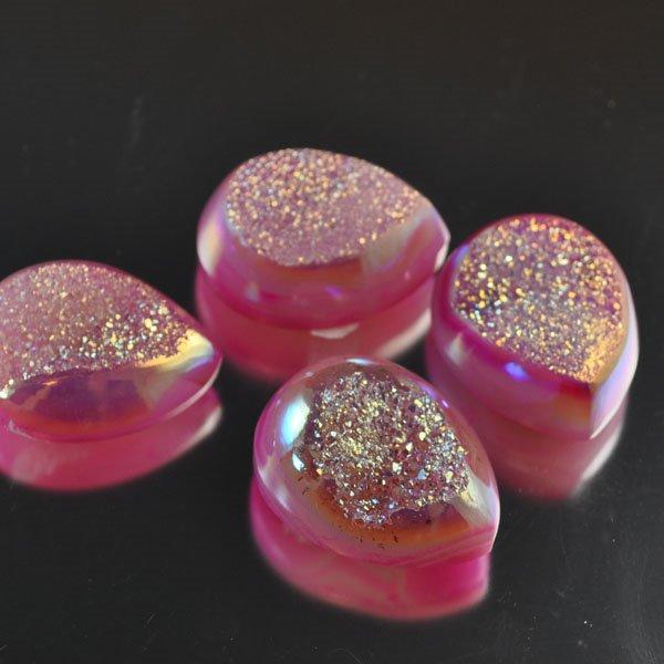 s33899 Stone -  Drusy Pear Cabochon - Pink Sugar Princess (1)
