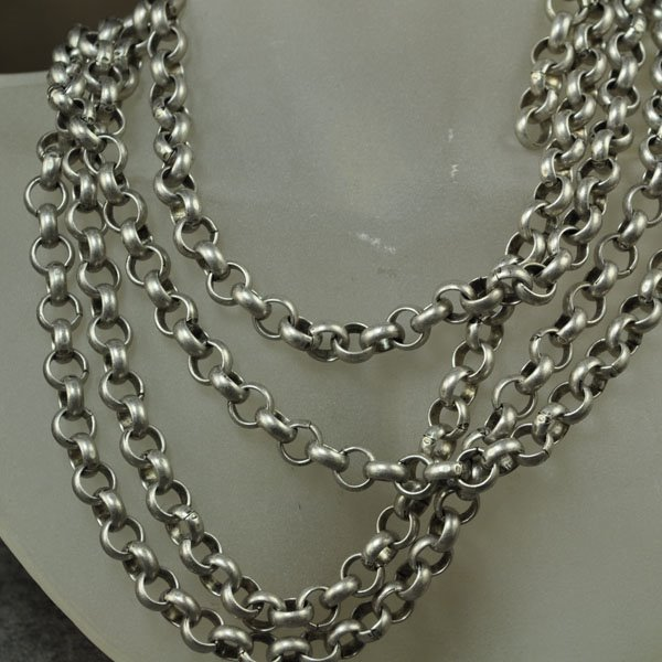s34388 Chain - 7 mm Rolo Chain - Semi-Matte Antique Silver (Inch)