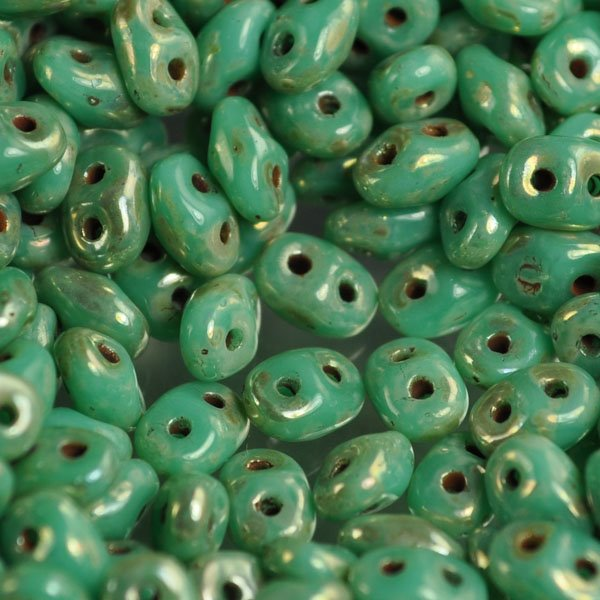 s34610 Czech Seedbeads - 2 Hole Superduo Twins - Green Turquoise Silver Picasso