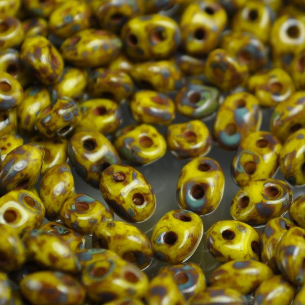 "s34625 Czech Seedbeads - 2 Hole Twins - Yellow Picasso <font color=""#FF0000"">Managers LAST CALL </font> 80% off!"