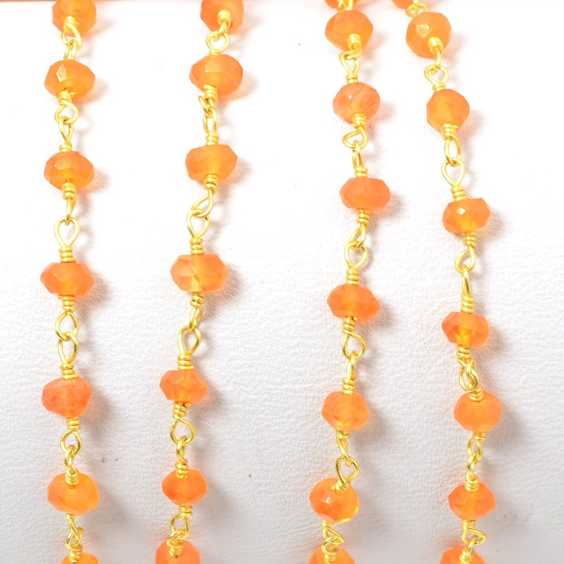 s34703 Gemstone Chain - 4mm Faceted Bead on Wire Link - Light Carnelian / Gold Plated (foot)