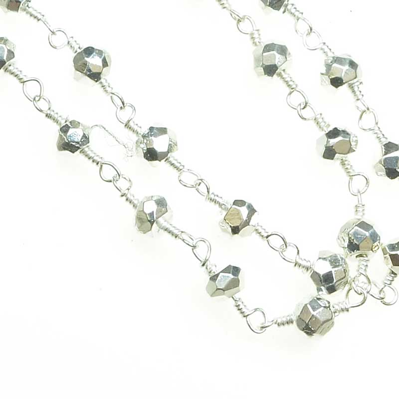 s34704 Gemstone Chain - 4mm Faceted Bead on Wire Link - Metallic Silver / Silver (foot)