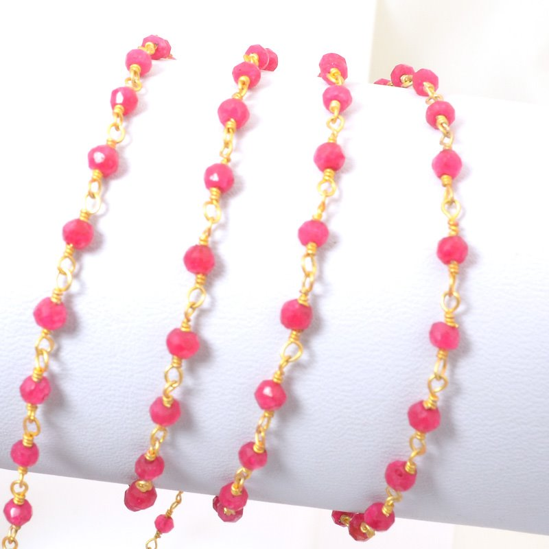 s34707 Gemstone Chain - 3mm Faceted Rondelle on Wire Link - Tourmaline Pink / Gold Plated (foot)