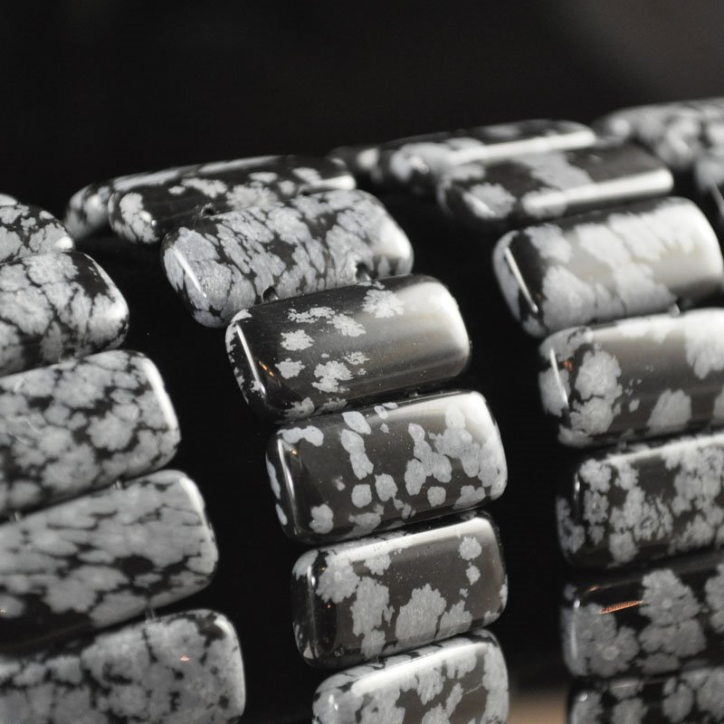s34801 Stone Beads - 20 x 10 mm Double Drilled Rectangle - Snowflake Obsidian (1)