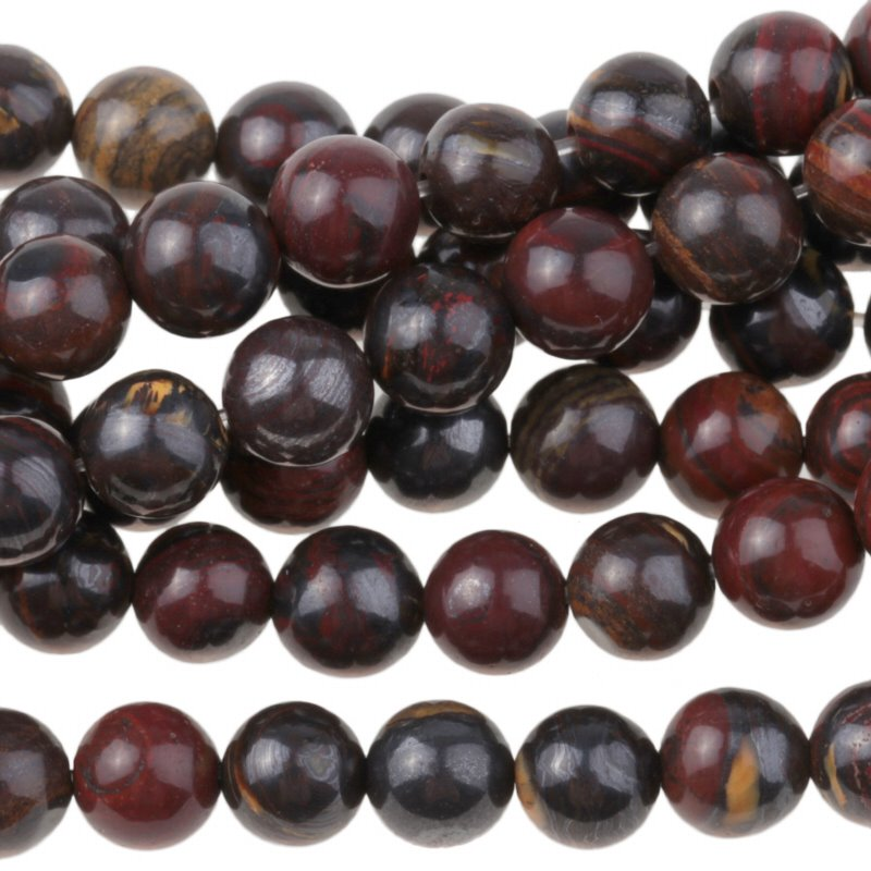 s35068 Stone Beads - 6 mm Round - Tiger Iron (strand)