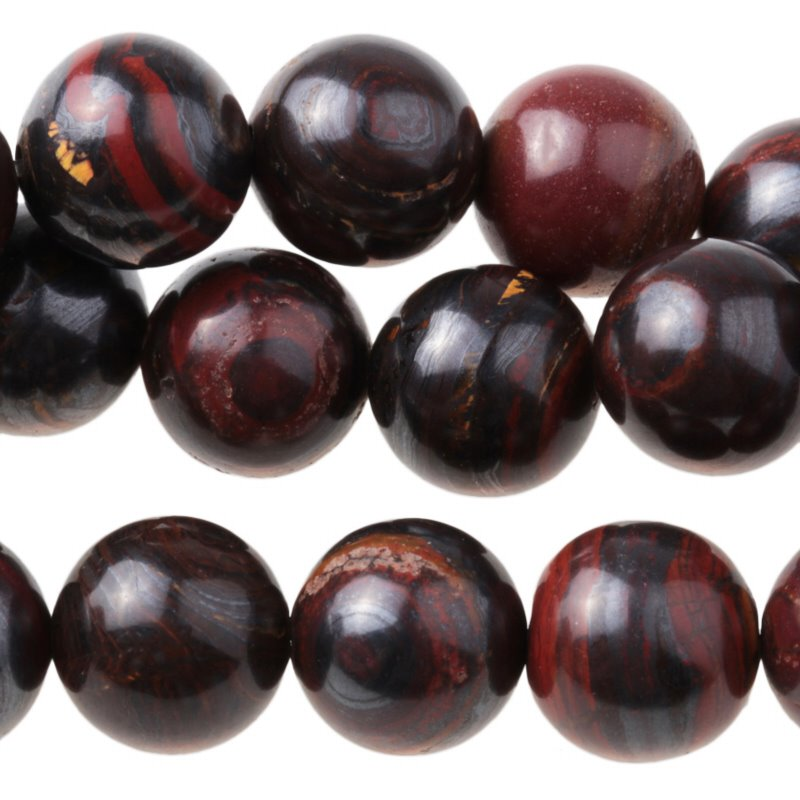 s35070 Stone Beads - 10 mm Round - Tiger Iron (strand)