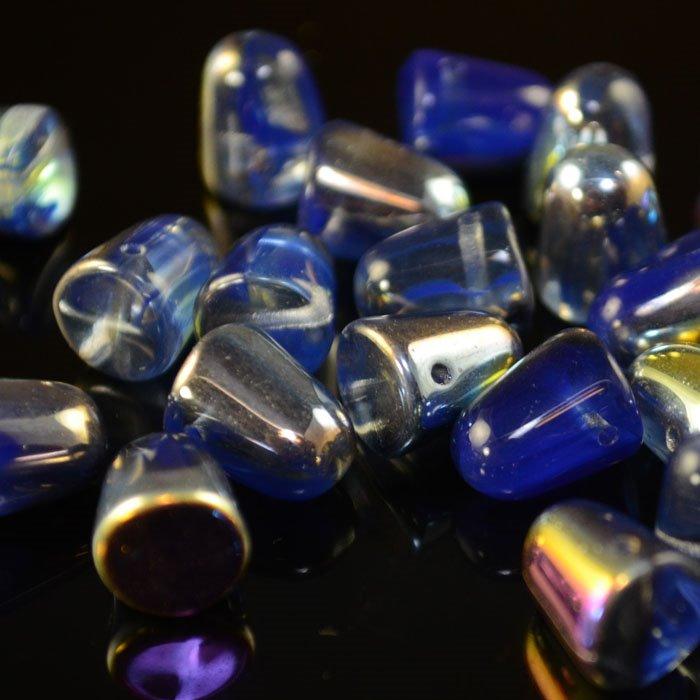 s35217 Glass Beads - 10 mm Gumdrops - Royal Blue Vitrail (6)