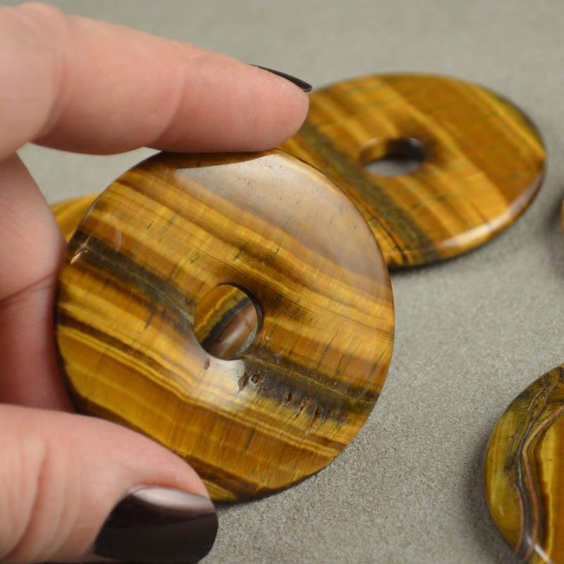 s35641 Stone - 50 mm Donut Pendant - TigerEye (1)