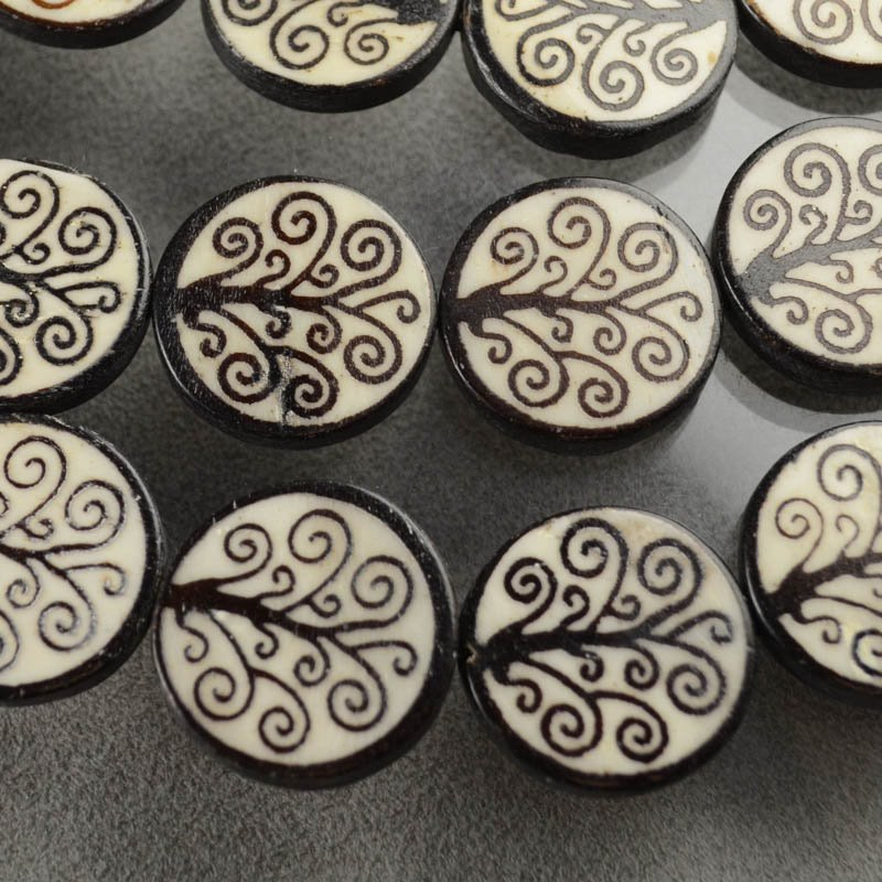 s35866 Batik Bone - 26 mm Coin - Tree of Life - Black on White (1)