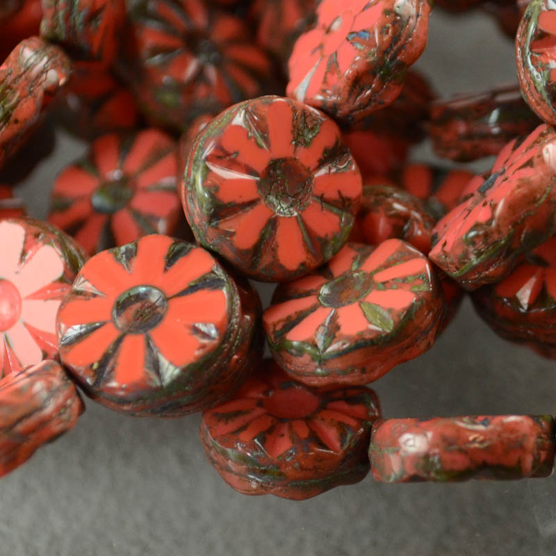 s35909 Glass Flowers - 12 mm Pressed Wild Flowers - Coral (1)