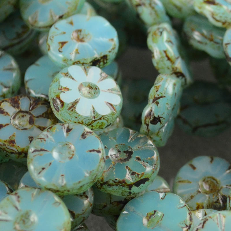 "s35913 Glass Flowers - 12 mm Pressed Wild Flowers - Seafoam - <font color=""#FF0000"">Managers Spring Special</font> - 75% off!"