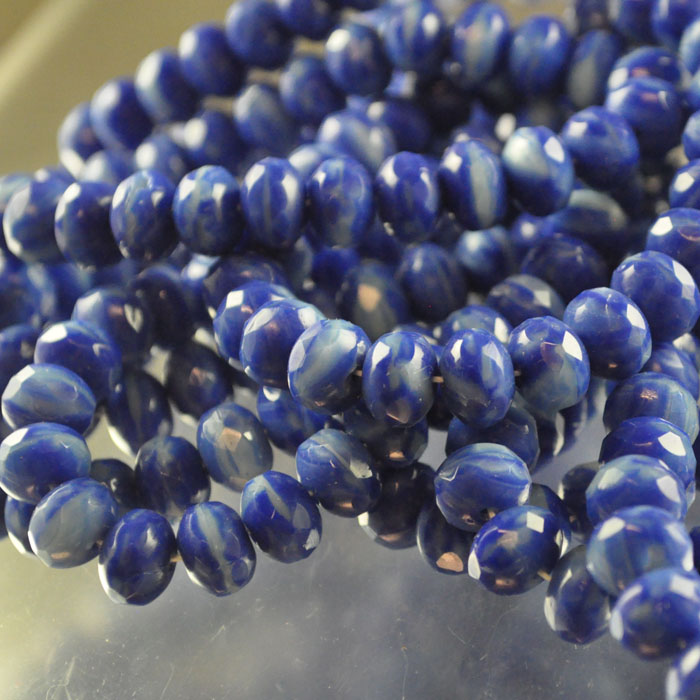 s35918 Firepolish - 8 x 6 mm Faceted Donut - Revenge of the Periwinkle (strand 25)