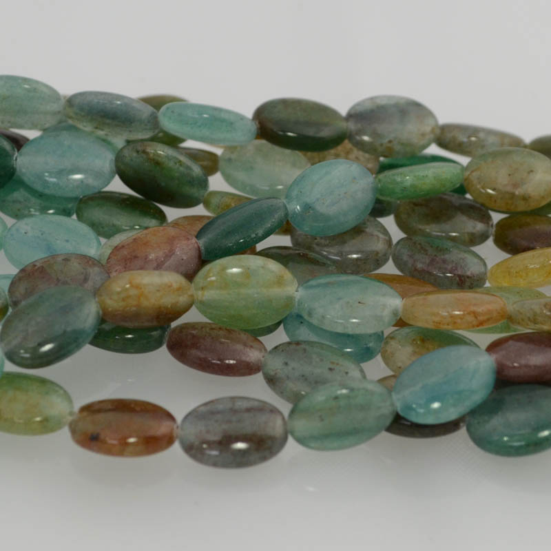 s36251 Stone Beads - 10 x 14 mm Oval - Blue Green Quartz (strand)