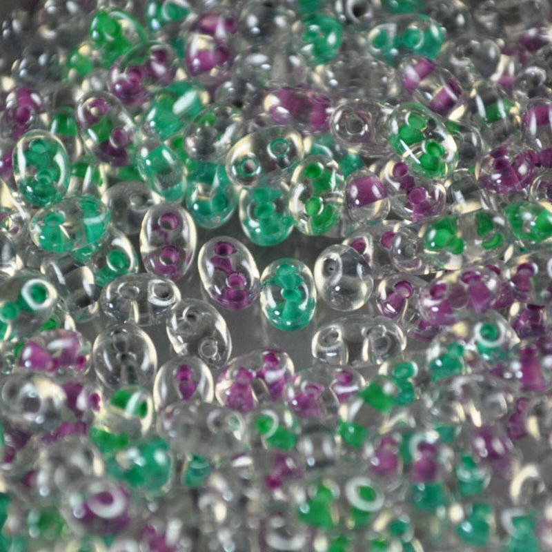 s36572 Czech Seedbeads - 2 Hole Twins - Colour Lined Happy Easter Mix