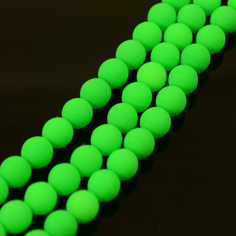 s36698 Glass Beads - 6 mm Round - Neon Green (strand)