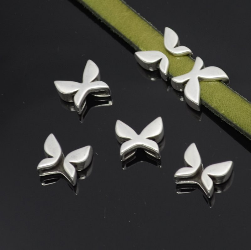 s36730 Beads - 10 mm Flat Leather -  Butterfly - Antiqued Silver (1)