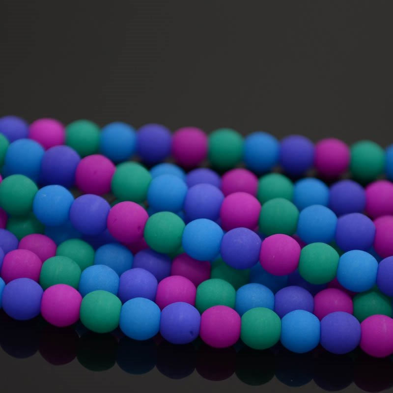 s36902 Glass Beads - 4 mm Round - Dark Neon Mix (strand)