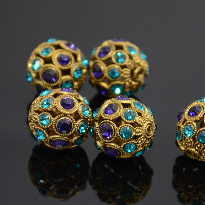 s36955 Swarovski Filigree Beads - 13 mm Round - Purple Velvet / Zircon / Antique Gold (1)
