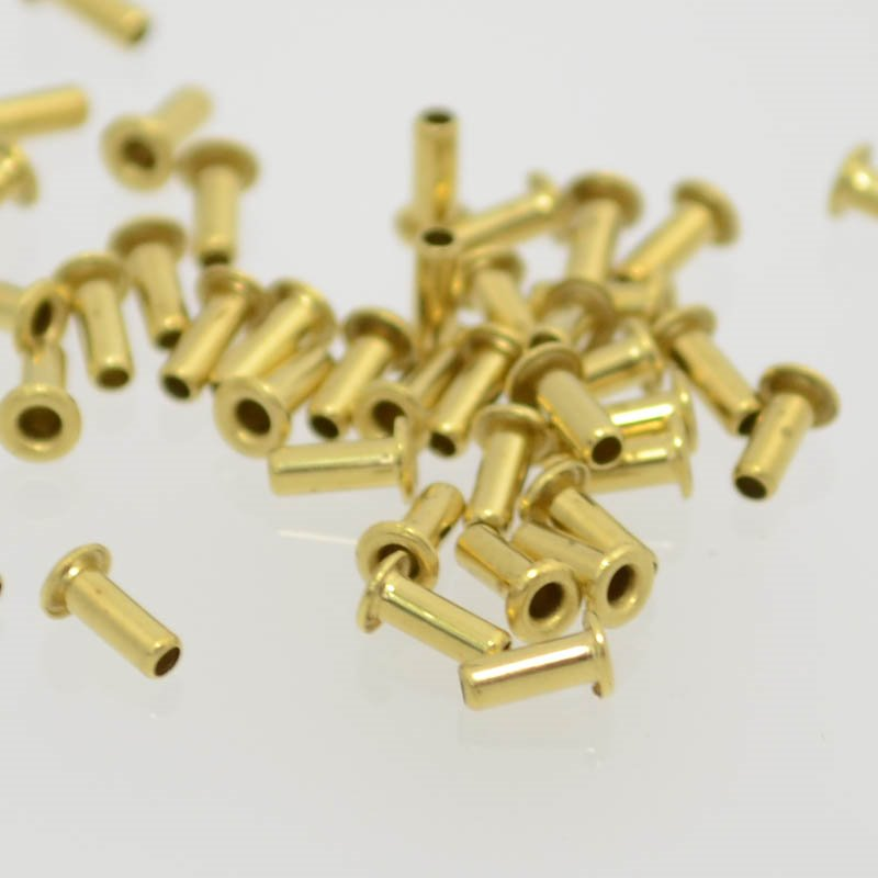 s37031 Riveting Supplies - 1/16 D 5/32 L Hollow Eyelet - Brass (Pack of 100)