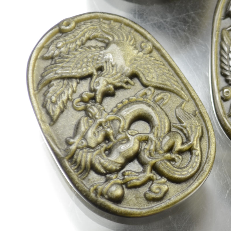s37335 Stone Cabochon -  Carved Dragon/Phoenix Cabochon - Golden Obsidian (1)