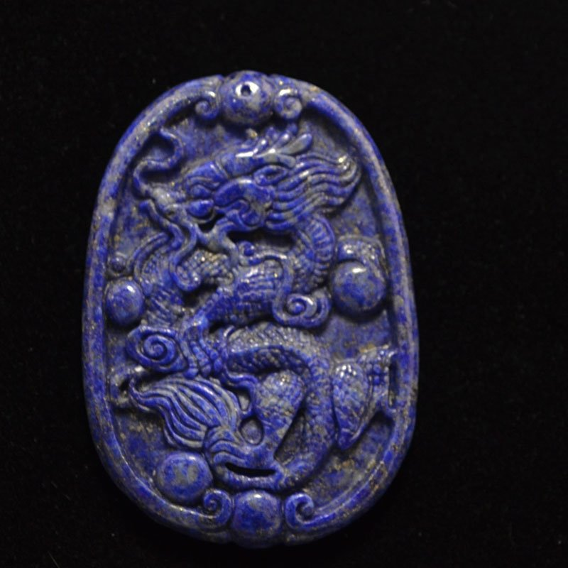 s37340 Stone Cabochon -  Carved Dragon Oval Cabochon - Lapis (1)