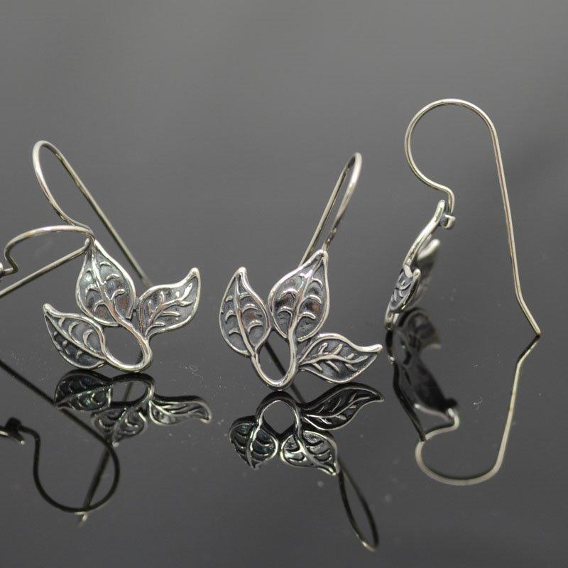 s37411 Findings - Earring Hooks -  Triple Leaf - Antiqued Sterling (Pair)