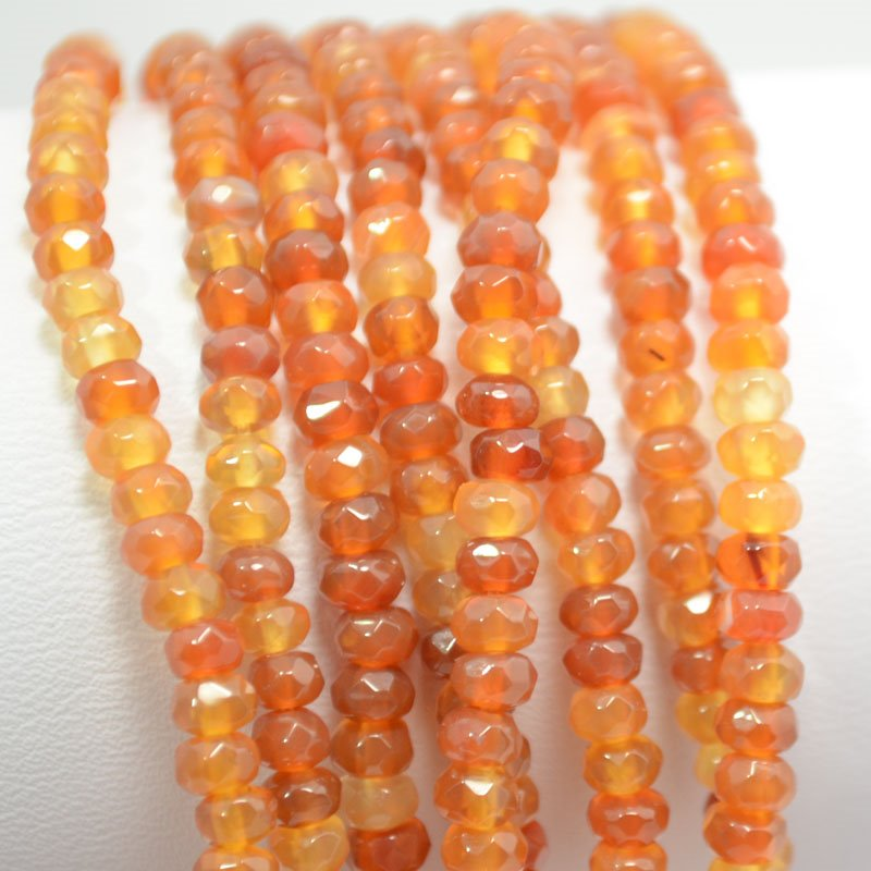 s37500 Stone Beads - 4 mm Faceted Rondelles - Carnelian (strand)