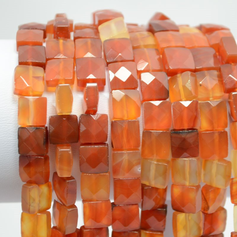 s37502 Stone Beads - 8 mm Faceted Square - Carnelian (strand)
