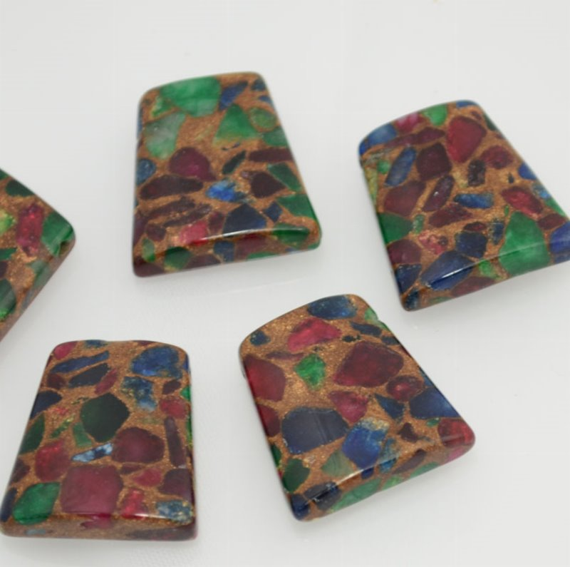 s37522 Stone Beads - 30 mm Trapezoid - Rainbow Inlay (1)