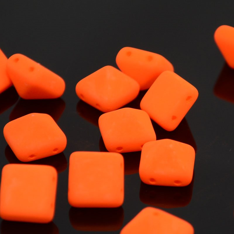 s37529 Glass Beads - 12 mm Bead Stud - Neon Orange (1)