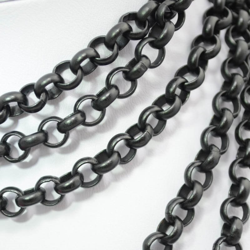 s37620 Chain - 7 mm Rolo Chain - Black (Inch)