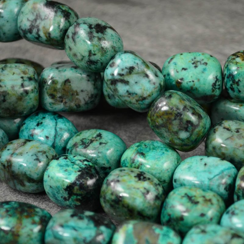 s38216 Stone Beads - 12 x 16 mm Tumbled Nugget - African Turquoise (1)