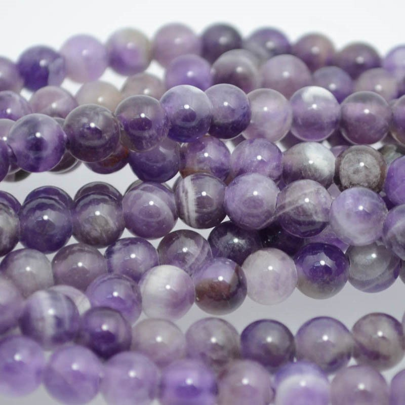 s38326 Stone Beads - 8 mm Round (2 mm Hole) - Dog Tooth Amethyst (1)