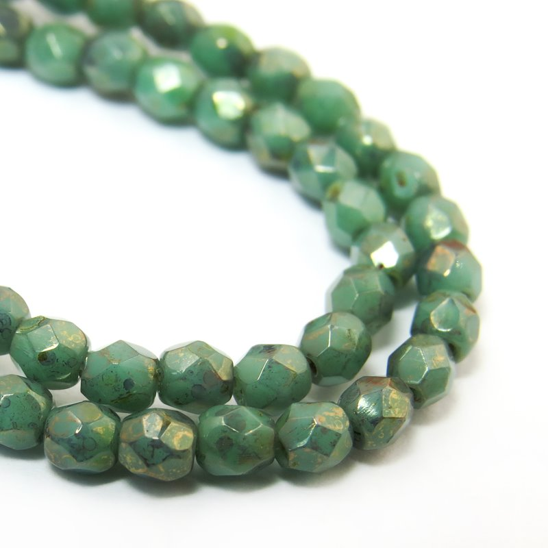 s38484 Firepolish - 3 mm Faceted Round - Veni Vidi Verdigris (50)
