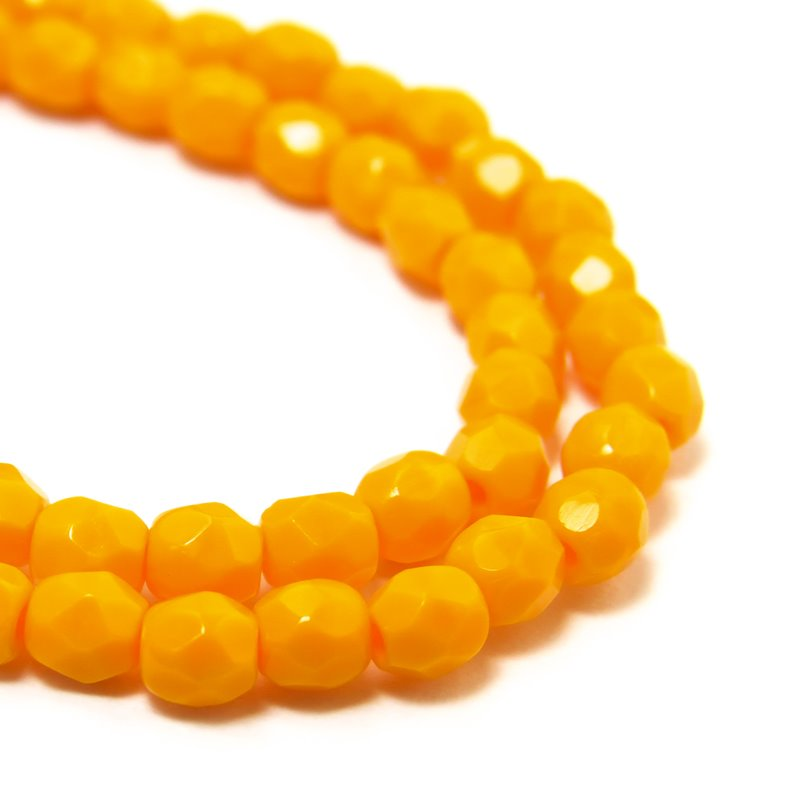 s38492 Firepolish - 3 mm Faceted Round - Mango (50)