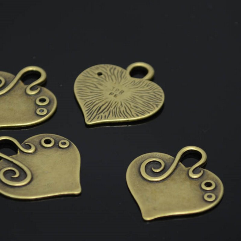 s38603 Metal Pendant - 27 mm Heart with a Squiggle Pendant - Antiqued Brass (1)