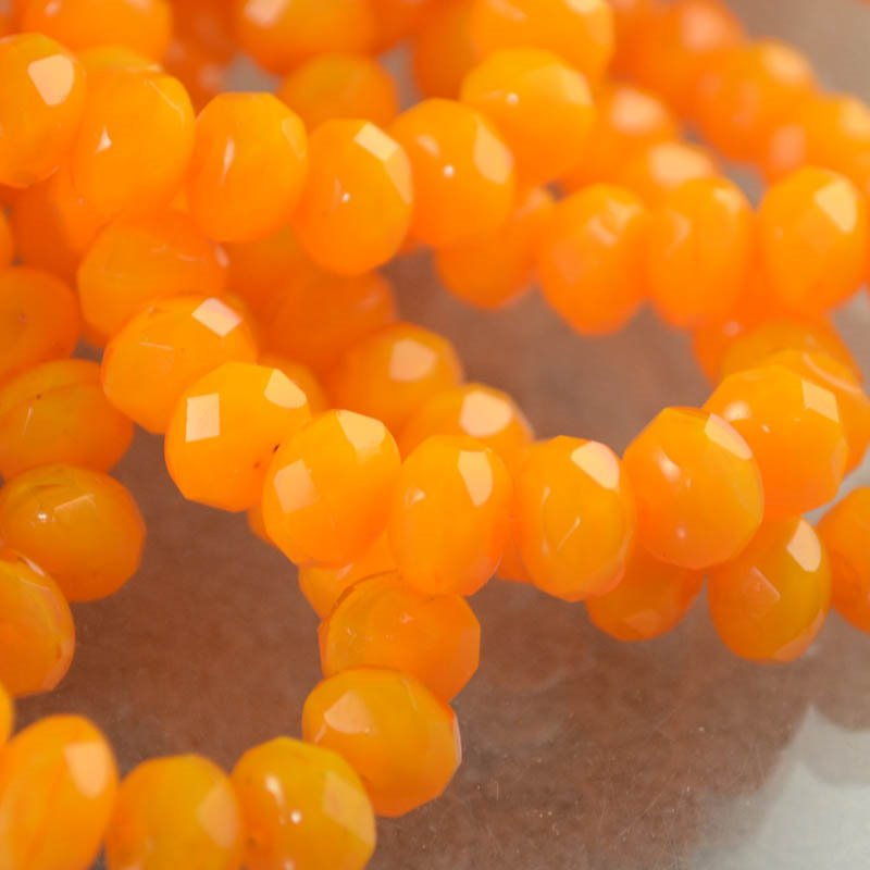 s38618 Firepolish - 9 x 6 mm Faceted Donut - Mandarin Sherbet (strand 25)