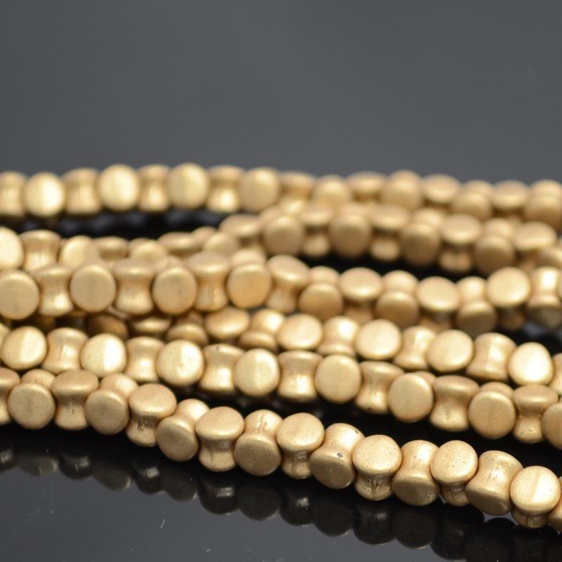s38847 Glass -  Pellet Beads - Silky Gold (Strand 50)