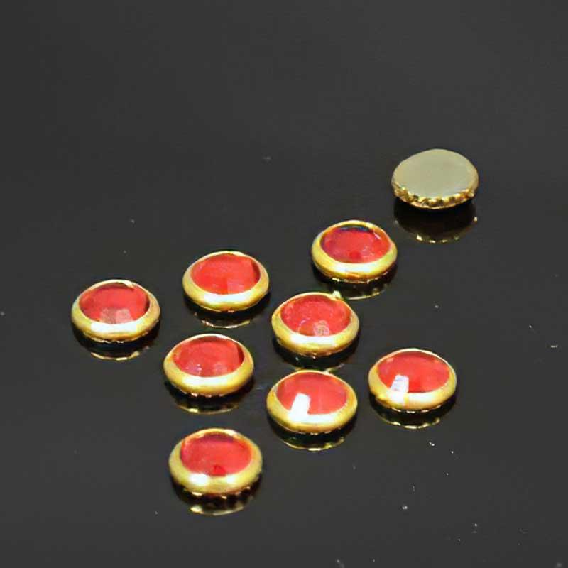 s38868 Swarovski Elements Hot Fix Rhinestone - ss34 Flatback in Bezel (2013) - Light Siam / Gold (18)
