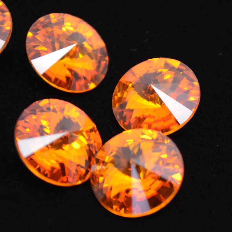 s38902 Swarovski Rhinestones - 12 mm Rivoli Cut (1122) - Tangerine (1)