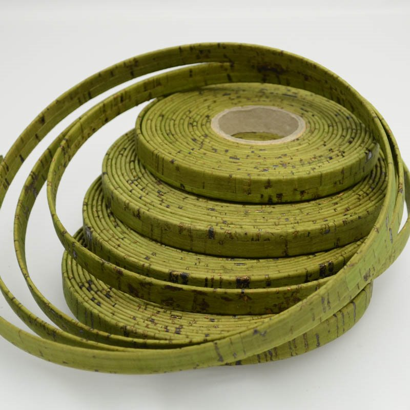 s39364 Leather - 10 mm Cork Leather - Flat - Olive Green (Inch)